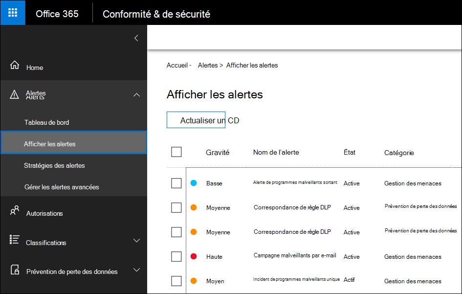 Dans la sécurité et Complinace centre, cliquez sur alertes, puis cliquez sur Afficher les alertes pour afficher les alertes