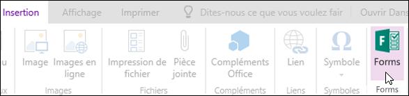 Option Insérer des formulaires de OneNote Online