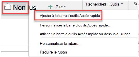 Ajouter Outlook à la barre d'outils Accès rapide