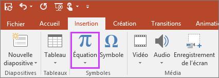 Bouton d'insertion d'une équation sur le ruban dans PowerPoint