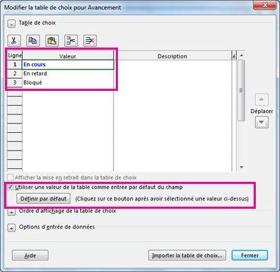 Image de la boîte de dialogue Modifier la table de choix