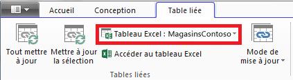 Ruban lié indiquant un tableau Excel