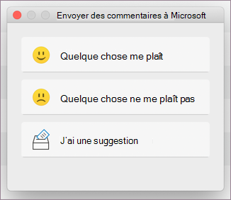 Boîte de dialogue Commentaires pour MacOS