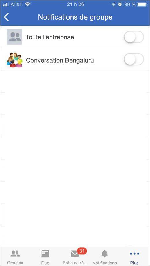 page Yammer d'iOS pour sélectionner des groupes à partir desquels recevoir des notifications