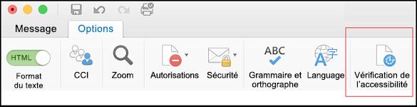 Capture d'écran de l'interface utilisateur dans Outlook pour l'ouverture du Vérificateur d'accessibilité