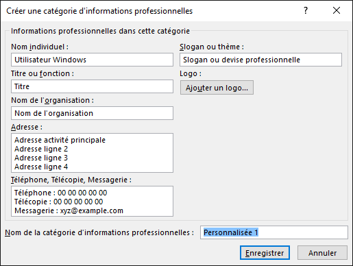 Capture Decran De La Boite Dialogue Creer Une Categorie Dinformations Professionnelles