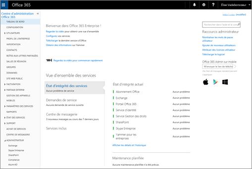 Exemple illustrant le Centre d'administration Office365 lorsque vous disposez d'une offre Skype Entreprise Online.