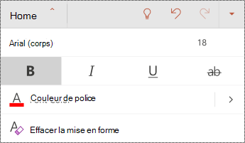 Menu police dans PowerPoint pour Android.
