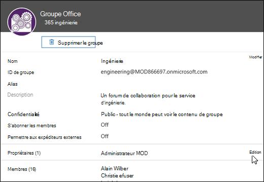 Le panneau groupes vous permet d'administrer les paramètres de votre groupe.