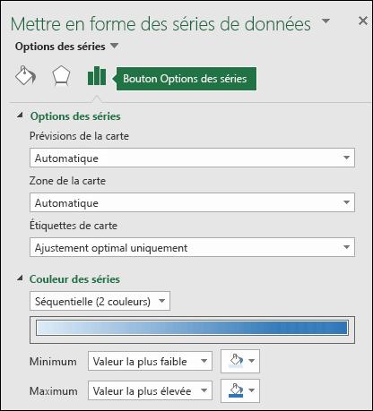 Options des séries du volet des tâches de mise en forme du graphique de carte Excel