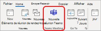 Nouvelle réunion Teams dans Outlook
