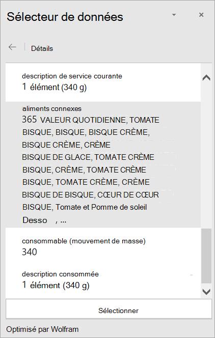 Capture d'écran des détails du résultat bisque crémeuse à la tomate dans le Sélecteur de données.