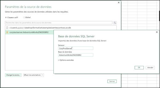 Excel Power BI - Améliorations des paramètres de source de données