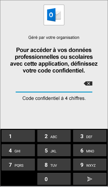 Définissez le code confidentiel de l'application Outlook dans Android.