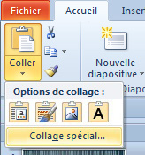 Sous Coller, options de collage avec Collage spécial