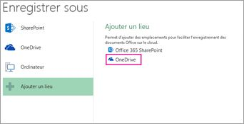 Option Enregistrer sur OneDrive