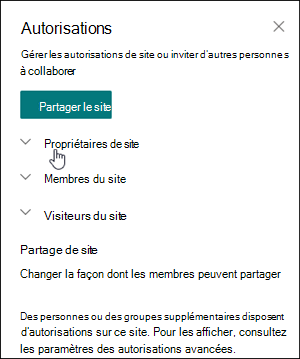 Zone Autorisations de site