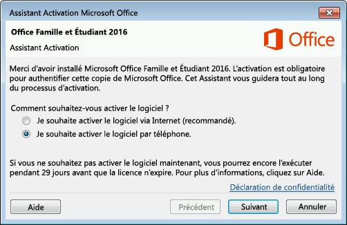 Assistant Activation avec l'option d'activation par téléphone sélectionnée