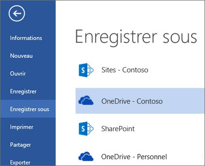 Dossier OneDrive Entreprise lors de l'ouverture ou l'enregistrement d'un fichier