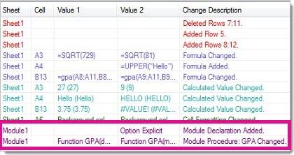 Modifications apportées à une macro dans la grille des résultats