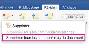 Sous l'onglet Révision, l'option Supprimer tous les commentaires du document est mise en évidence