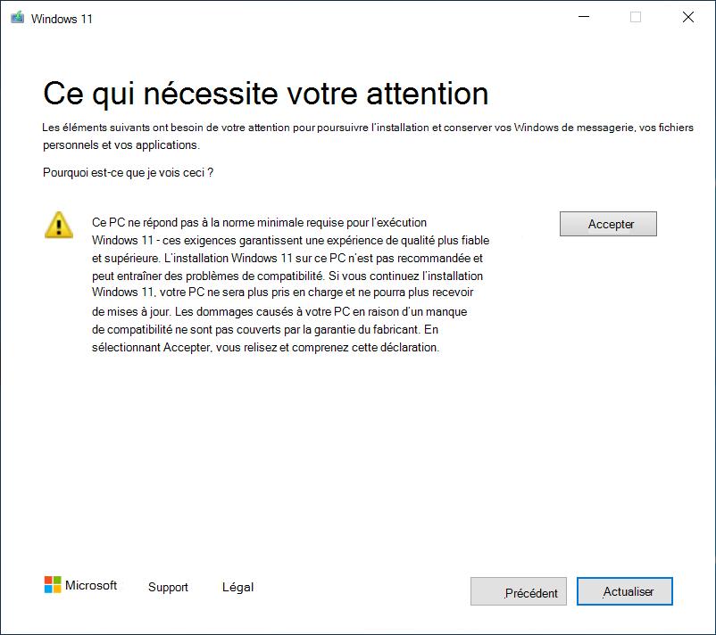 Message dans Windows 10 expliquant qu'un PC ne répond pas aux exigences de mise à niveau vers Windows 11. Le message inclut un avertissement de non-mise à niveau, car le PC ne sera plus pris en charge.