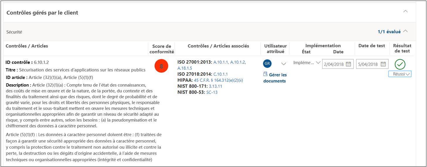 Contrôle d'analyse du Gestionnaire de conformité RGPD 6.10.1.2 - Réussi