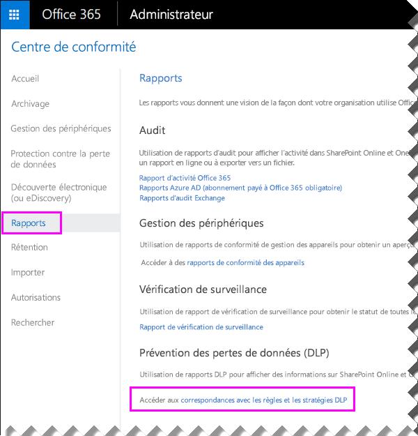 Page Rapports dans le Centre de conformité et sécurité Office365