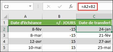Ajoutez ou soustrayez des jours à une date avec = a2 + B2, où a2 correspond à une date et B2 représente le nombre de jours à ajouter ou soustraire.