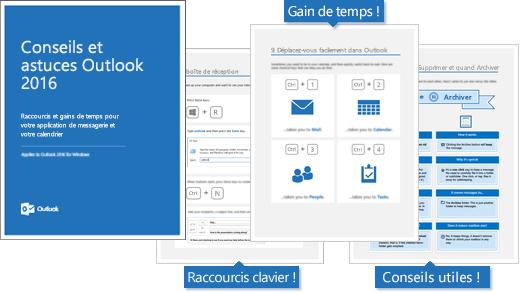 Couverture du livre électronique Conseils et astuces Outlook2016, pages affichant des conseils