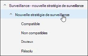 Complément surveillance dans Outlook web app affichant le sous-dossier de stratégie de surveillance sélectionné