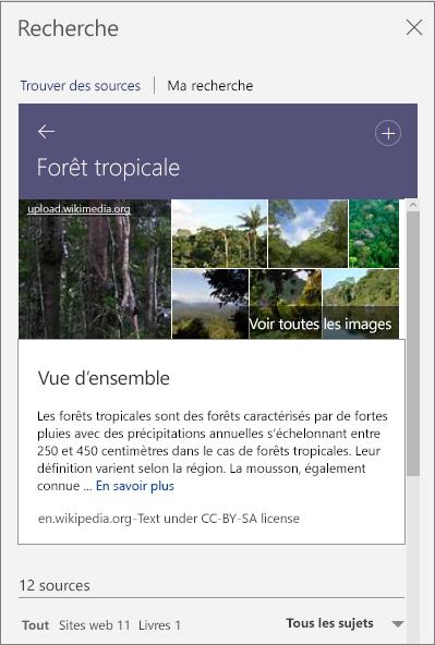 Volet Recherche montrant les résultats de la recherche Forêt tropicale