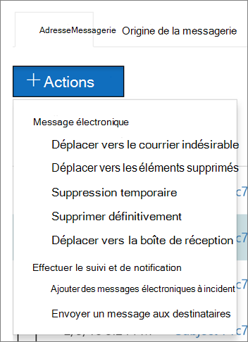 Lorsque vous sélectionnez un ou plusieurs messages électroniques, vous pouvez choisir parmi plusieurs actions disponibles