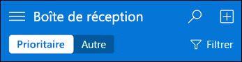 Barre de navigation supérieure pour mini Outlook Web App