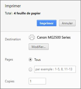 Options du Panneau Imprimer de Chrome