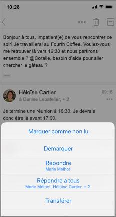 Courrier électronique avec l'option marquer comme non lu, annuler l'indicateur et autres options