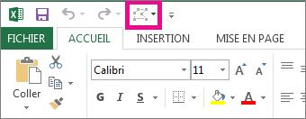 Option Modifier la forme dans la barre d'outils Accès rapide