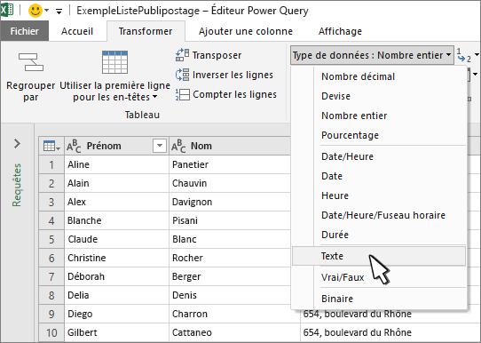 Fenêtre Power Query avec Texte sélectionné
