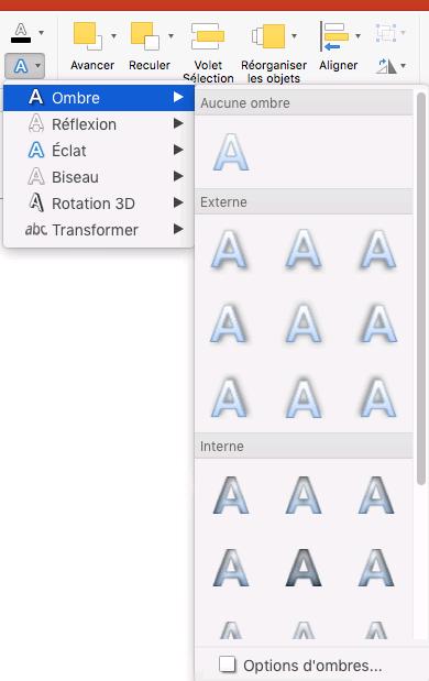 Options d'ombre dans le menu Effets de texte
