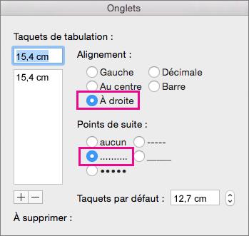 Boîte de dialogue Tabulations, configurée pour utiliser une tabulation alignée à droite avec des points