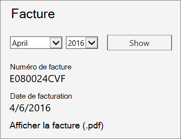 Capture d'écran de la section Facture de la page Détails de la facture du Centre d'administration Office365.
