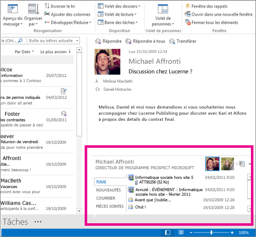 Outlook Social Connector agrandi