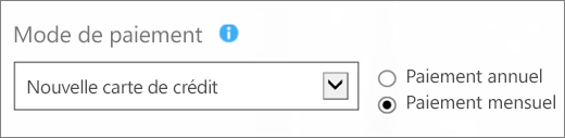 Capture d'écran de la section «Mode de paiement» dans la page «Choix du mode de paiement» avec les options «Nouvelle carte bancaire» et «Paiement mensuel» sélectionnées