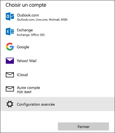 Sélectionnez la boîte de dialogue d'un compte pour accéder à la liste des services de courrier.