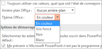 Options de thème Office dans PowerPoint 2016