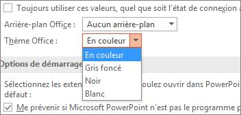 Options de thème Office dans PowerPoint2016