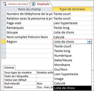 Configuration du type de données pour un champ Liste de choix