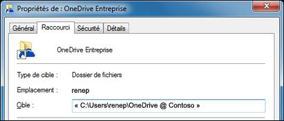 Propriétés d'un dossier de bibliothèque OneDrive Entreprise synchronisé