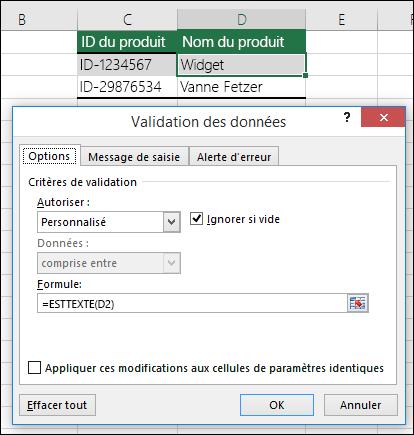 Exemple2: Formules utilisées pour la validation des données