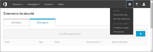 Dans le portail ASM, sélectionnez Paramètres > extensions de sécurité